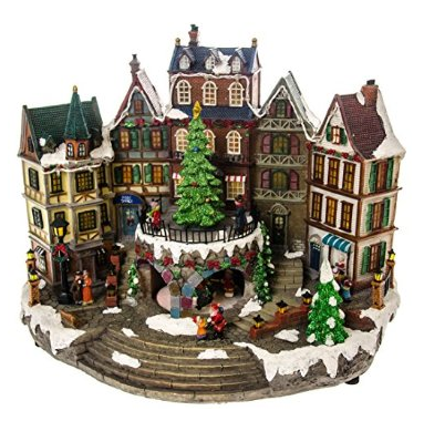 product review cracker barrel led village with animated tree - Animated Christmas Decorations